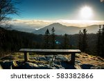 abandoned bench on the edge of... | Shutterstock . vector #583382866