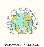 cartoon happy little people... | Shutterstock .eps vector #583385632