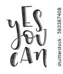 yes you can typographic poster. ... | Shutterstock .eps vector #583387408