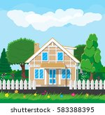 private suburban house with... | Shutterstock .eps vector #583388395