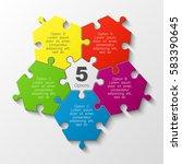 puzzle five piece business... | Shutterstock .eps vector #583390645