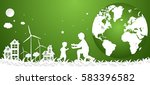 concept eco earth and family ... | Shutterstock .eps vector #583396582
