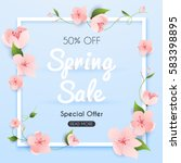 sale banner with flowers ... | Shutterstock .eps vector #583398895