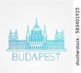 hungarian parliament building... | Shutterstock .eps vector #583401925
