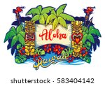 hawaii. tiki statues and a... | Shutterstock .eps vector #583404142