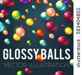 colorful glossy balls... | Shutterstock .eps vector #583404802