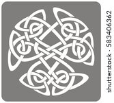 monochrome icon with celtic art ... | Shutterstock .eps vector #583406362