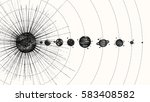 solar system in dotwork style.... | Shutterstock .eps vector #583408582