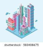 isometric building. megalopolis ... | Shutterstock .eps vector #583408675