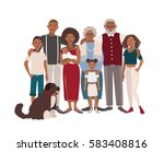happy large black family... | Shutterstock .eps vector #583408816