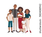 happy large black family... | Shutterstock .eps vector #583408942
