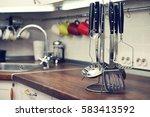 kitchen utensils on  work top... | Shutterstock . vector #583413592
