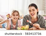 happy loving family. mother and ... | Shutterstock . vector #583413736