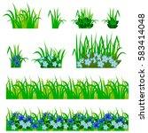 garden flowers set. cornflowers ... | Shutterstock .eps vector #583414048