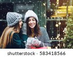 outdoor portrait of two young... | Shutterstock . vector #583418566