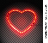 bright heart. neon sign. retro... | Shutterstock .eps vector #583419835