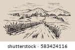 vector hand drawn village... | Shutterstock .eps vector #583424116