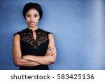 attractive young adult black... | Shutterstock . vector #583425136