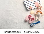 baby clothes and necessities on ... | Shutterstock . vector #583429222