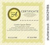 yellow certificate. nice design.... | Shutterstock .eps vector #583429486