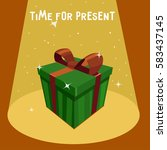 green gift box with red ribbon... | Shutterstock .eps vector #583437145