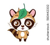cute stylized cartoon raccoon...   Shutterstock .eps vector #583442332