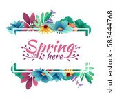 Stock vector design banner with spring is here logo card for spring season with white frame and herb 583444768