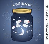 sweet dreams vector...   Shutterstock .eps vector #583453132