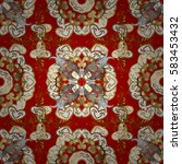 golden elements on red... | Shutterstock .eps vector #583453432
