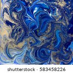 blue and gold liquid texture.... | Shutterstock . vector #583458226