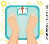 feet on weighing scales. vector ... | Shutterstock .eps vector #583463428