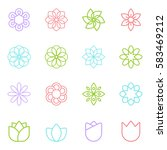 flowers icon  flat design  thin ... | Shutterstock .eps vector #583469212
