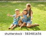 happy playful children outdoors ...   Shutterstock . vector #583481656