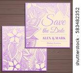 wedding invitation card suite... | Shutterstock .eps vector #583482352