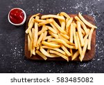 french fries with ketchup on... | Shutterstock . vector #583485082