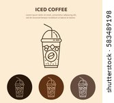iced coffee  line icon.  drink... | Shutterstock .eps vector #583489198