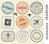 travel stamps or adventure... | Shutterstock .eps vector #583489288