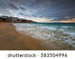 Stock photo view of the village on donoussa island from the beach 583504996