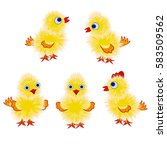 set of little yellow chicks in... | Shutterstock .eps vector #583509562