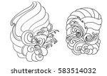 hand drawn wave for tattoo... | Shutterstock .eps vector #583514032