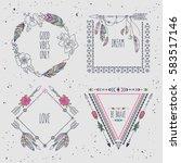 hand drawn boho style frames... | Shutterstock .eps vector #583517146