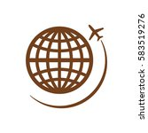 globe with airplane icon ... | Shutterstock .eps vector #583519276