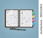 opened notebook with blue pen... | Shutterstock .eps vector #583522822