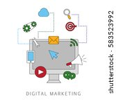 digital marketing isolated on...