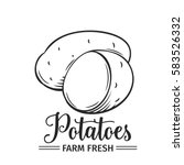 hand drawn potatoes icon.... | Shutterstock .eps vector #583526332