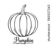 hand drawn pumpkin icon. vector ...   Shutterstock .eps vector #583527262