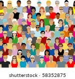 crowd seamless pattern | Shutterstock .eps vector #58352875