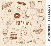 breakfast. vector doodle set.... | Shutterstock .eps vector #583533196