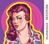 young woman vintage portrait ... | Shutterstock .eps vector #583539286