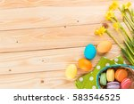 happy easter  narcissus flowers ... | Shutterstock . vector #583546525